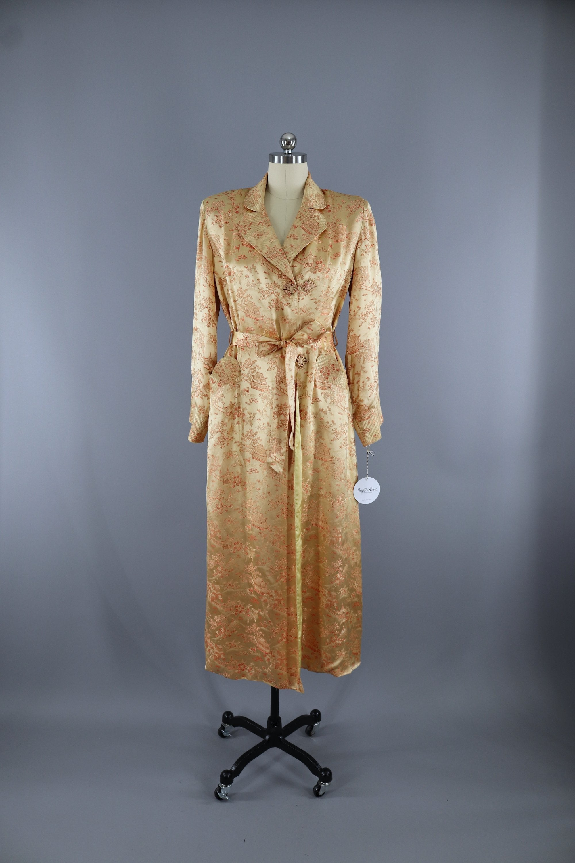 Vintage 1950s Vintage Gold Satin Robe / Chinoiserie Dressing Gown ...