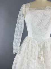 Vintage 1950s Wedding Dress / Tiered Lace Bridal Gown Dress ThisBlueBird
