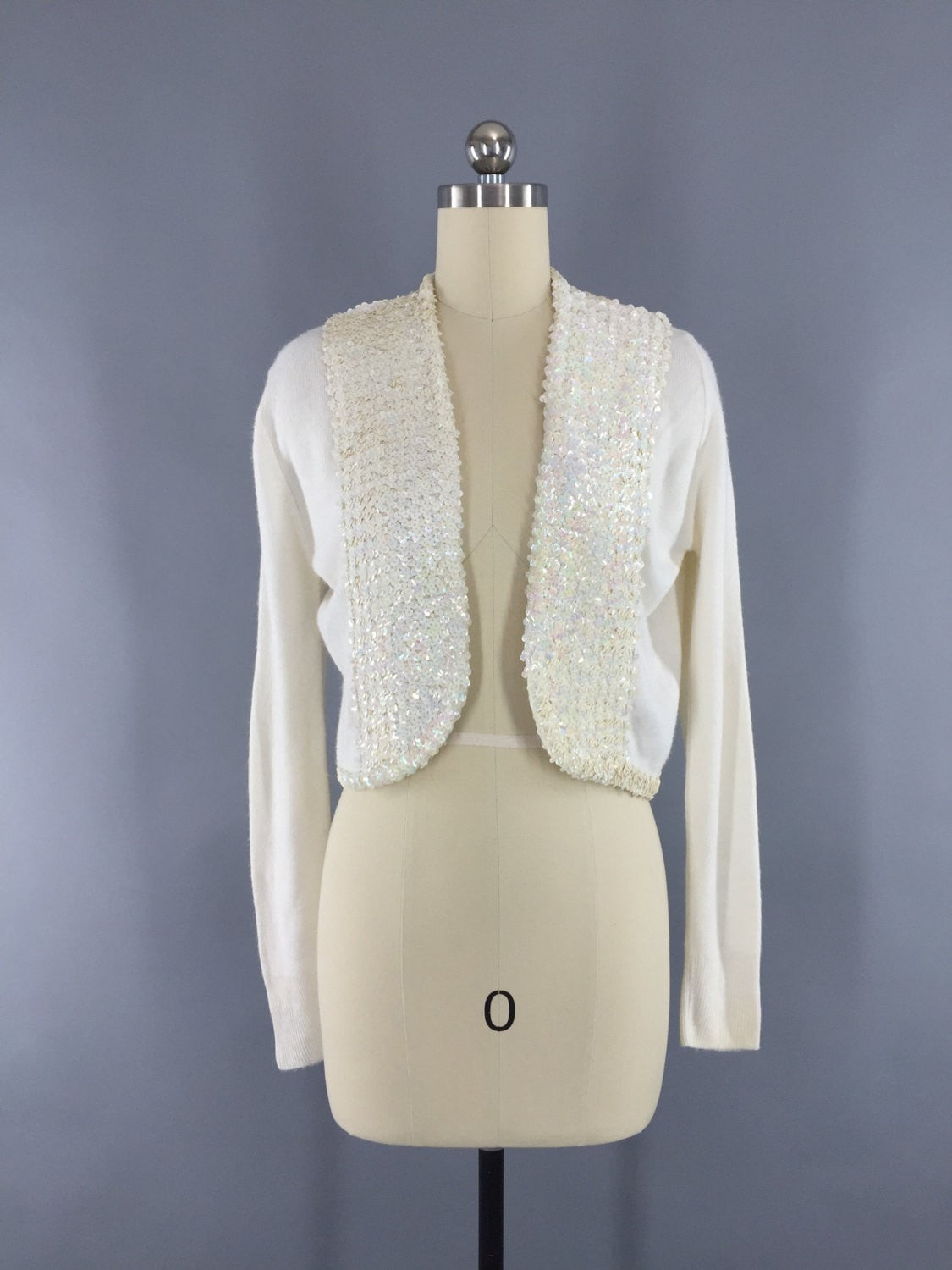 Vintage 1950s White Sequined Cropped Cardigan Sweater Tops ThisBlueBird