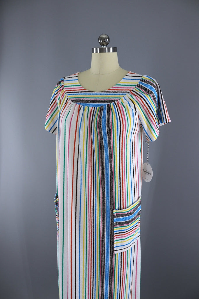 6c7a36cebf61 Vintage 1960s - 1970s Caftan Dress   Rainbow Stripes Terry Cloth Maxi