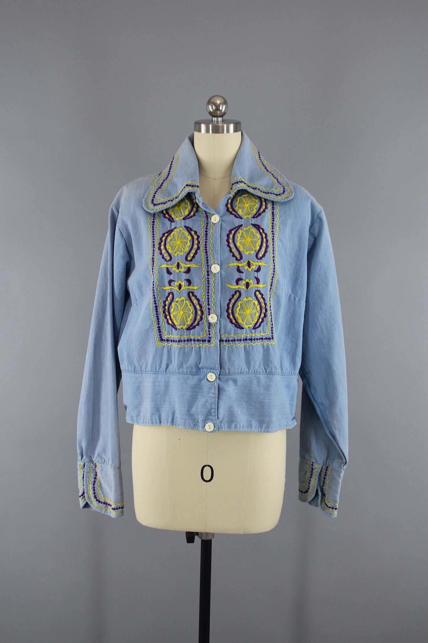 Vintage 1960s - 1970s Denim Embroidered Jacket Outerwear ThisBlueBird