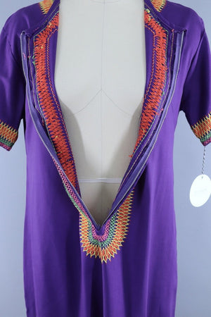 Vintage 1960s - 1970s Purple Embroidered Caftan Dress - ThisBlueBird