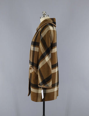 2ea056e5a Vintage 1960s Betty Rose Winter Coat / Brown Plaid