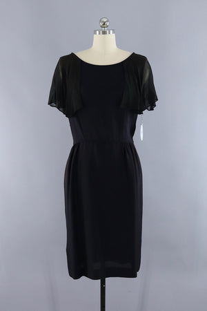 Vintage 1960s Black Dress with Chiffon Sleeves-ThisBlueBird - Modern Vintage