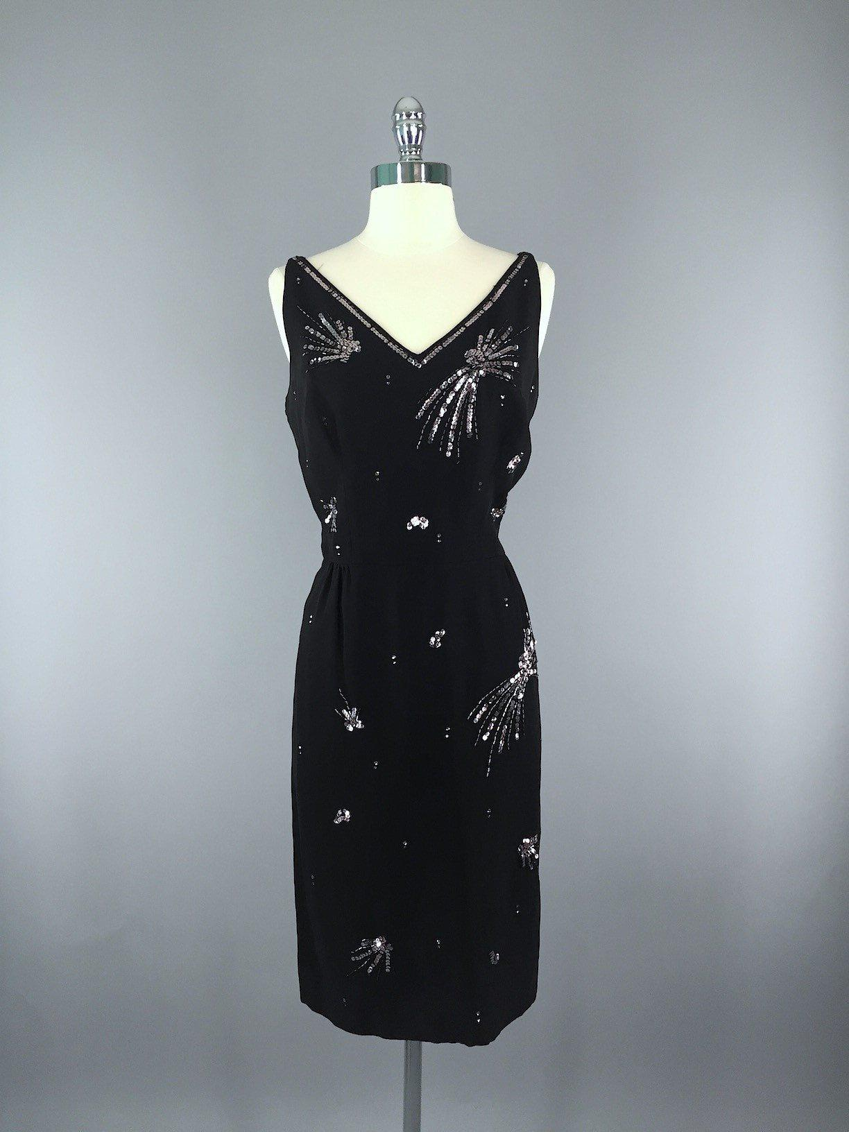 Vintage 1960s Black Sequined Party Dress Dress ThisBlueBird
