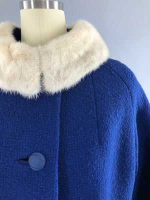 Vintage 1960s Blue Coat with White Mink Fur Collar-ThisBlueBird - Modern Vintage