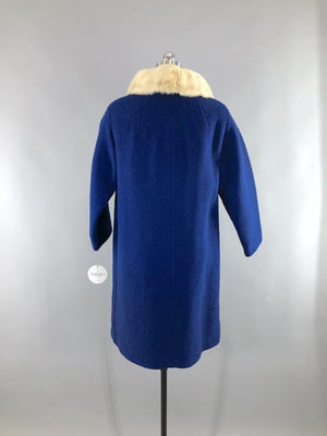 Vintage 1960s Blue Coat with White Mink Fur Collar - ThisBlueBird