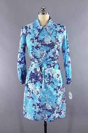 Vintage 1960s Blue Floral Print Day Dress - ThisBlueBird
