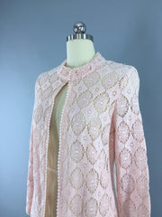 Vintage 1960s Bohemian Festival Crocheted Jacket Outerwear ThisBlueBird