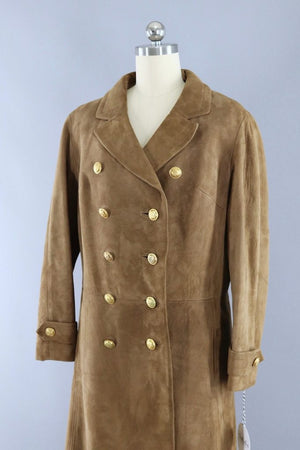 Vintage 1960s Brown Suede Coat with Gold Anchor Buttons - ThisBlueBird