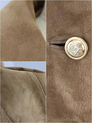 Vintage 1960s Brown Suede Coat with Gold Anchor Buttons-ThisBlueBird - Modern Vintage
