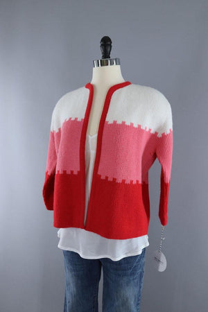 Vintage 1960s Candy Cane Red and White Cardigan Sweater - ThisBlueBird
