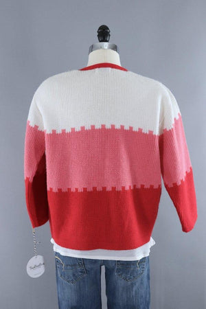Vintage 1960s Candy Cane Red and White Cardigan Sweater-ThisBlueBird - Modern Vintage