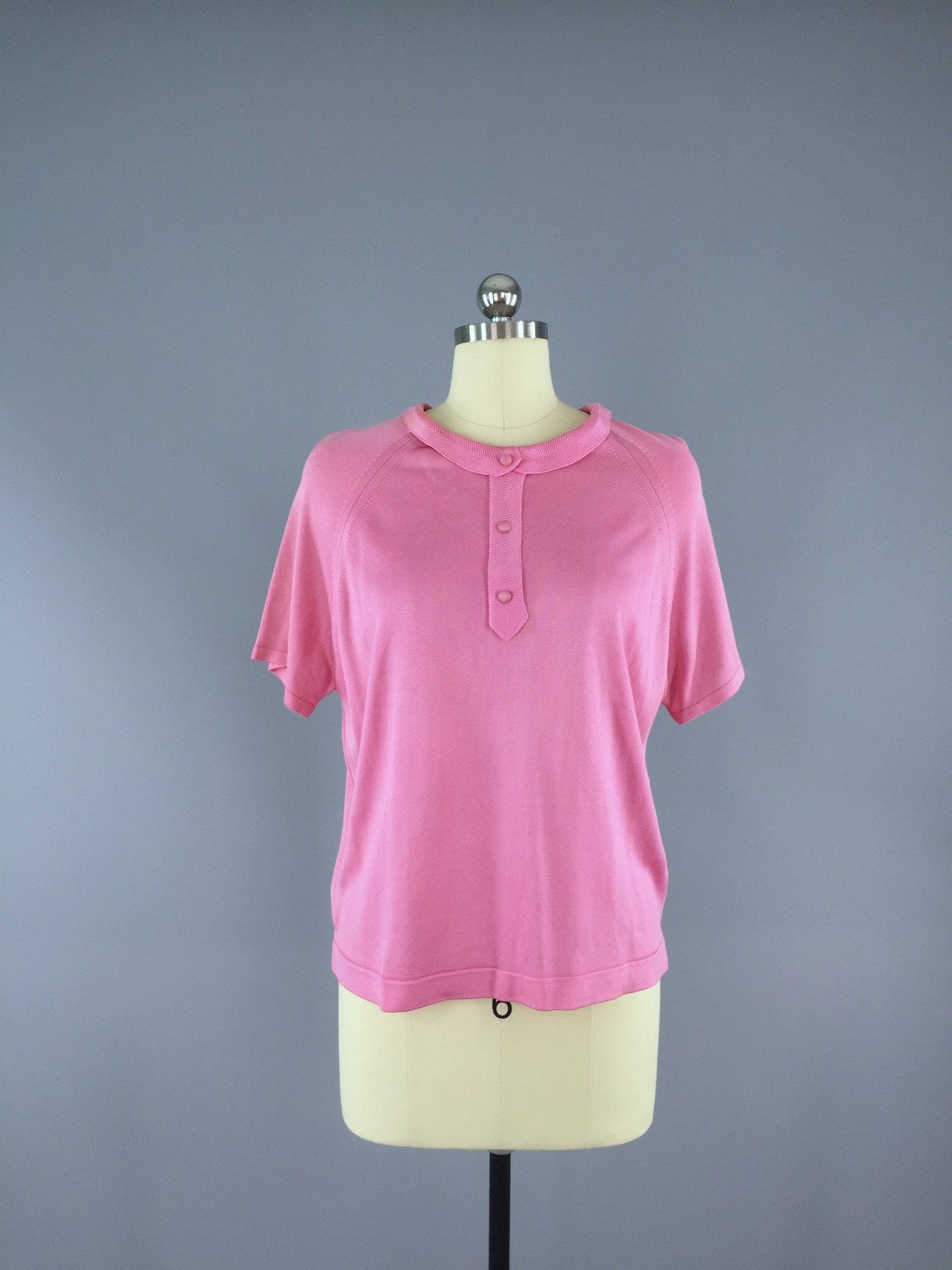 Vintage 1960s Carnation Pink Sweater Top Tops ThisBlueBird - Sale