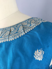 Vintage 1960s Cocktail Dress / Aqua Blue Thai Silk Brocade Dress ThisBlueBird