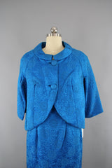 Vintage 1960s Electric Blue Dress and Jacket Set Dress ThisBlueBird