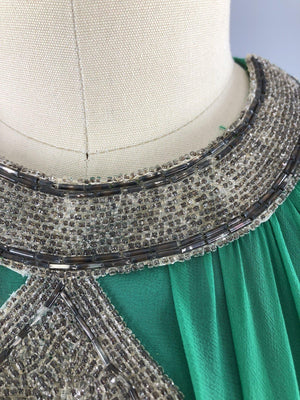 Vintage 1960s Emerald Green Beaded Chiffon Party Dress - ThisBlueBird
