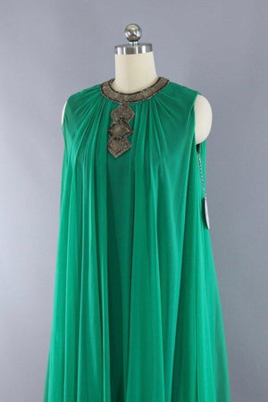 Vintage 1960s Emerald Green Beaded Chiffon Party Dress-ThisBlueBird - Modern Vintage