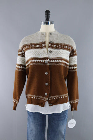 Vintage 1960s Fair Isle Cardigan Sweater / Oatmeal Brown - ThisBlueBird