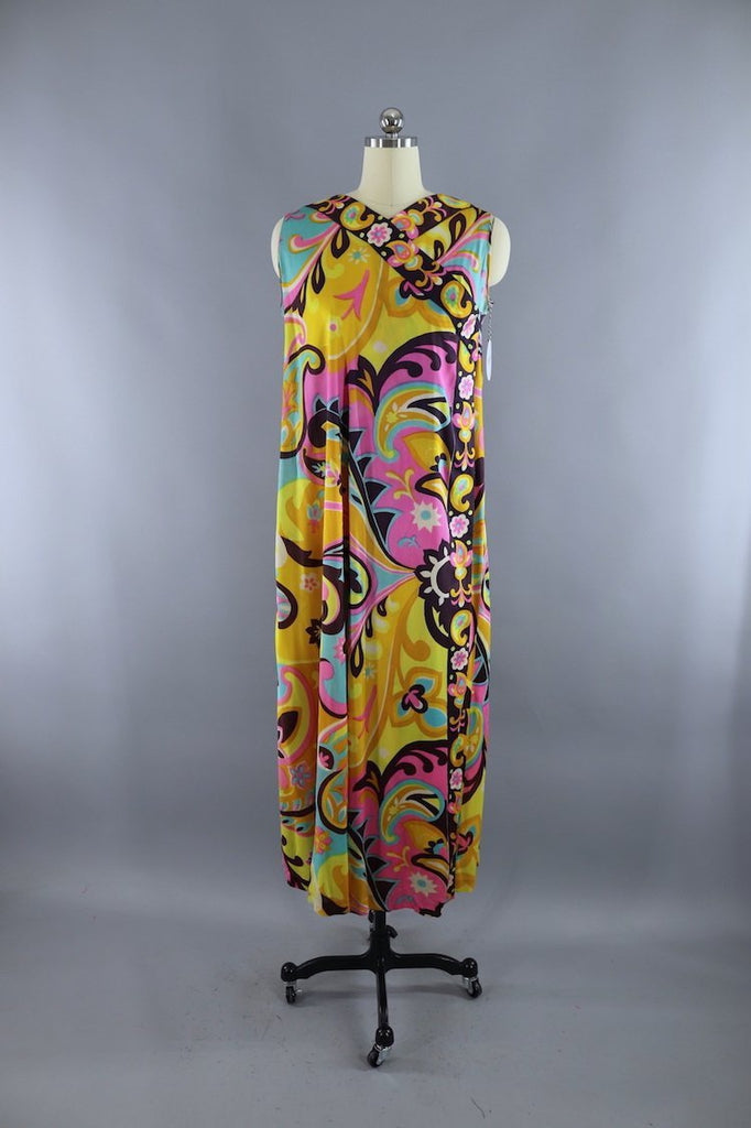 Vintage 1960s Gold & Pink Mod Wrap Dress-ThisBlueBird - Modern Vintage