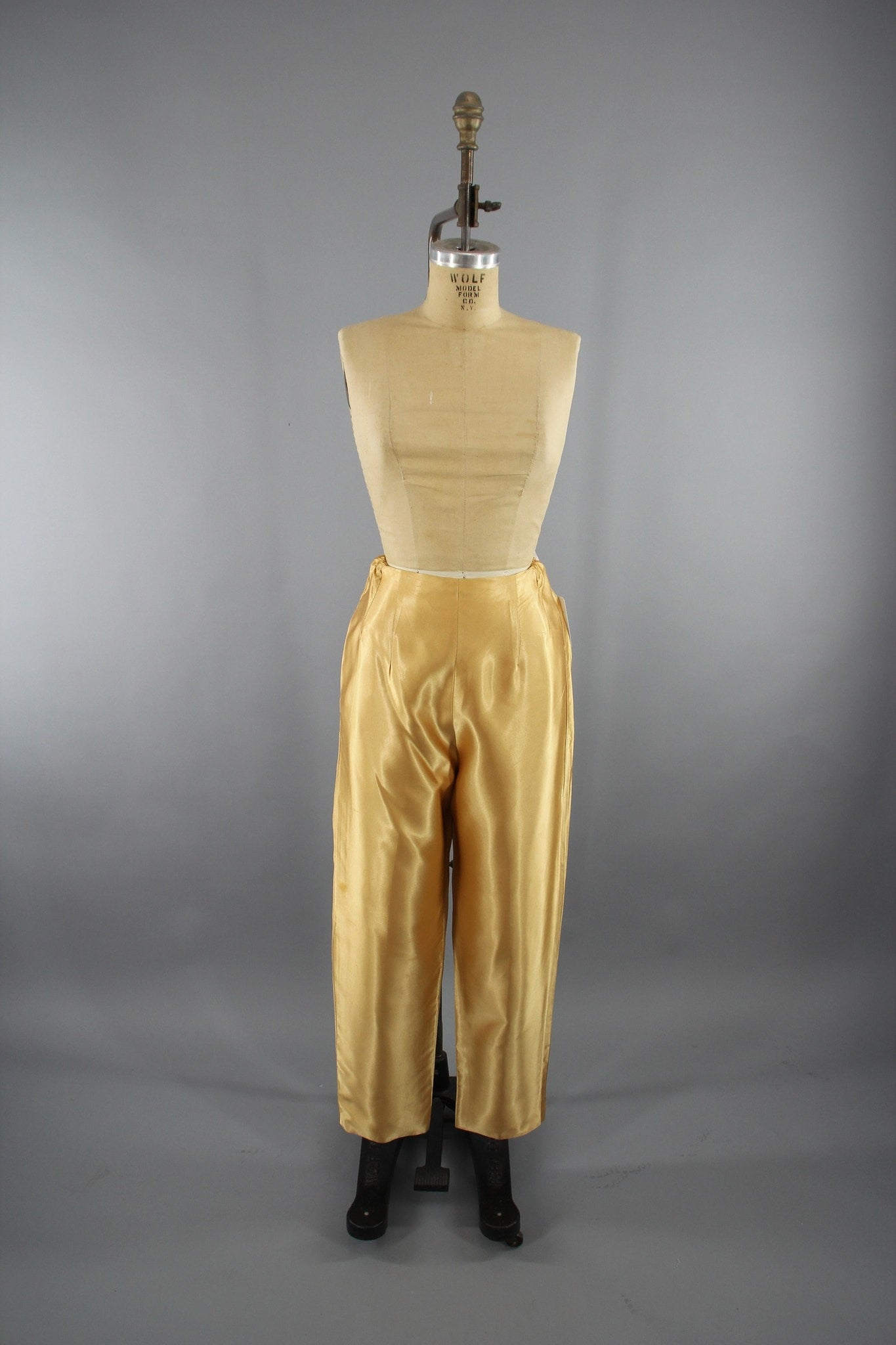 Vintage 1960s Gold Satin Cigarette Pants / High Waisted Disco Pants Bottoms ThisBlueBIrd