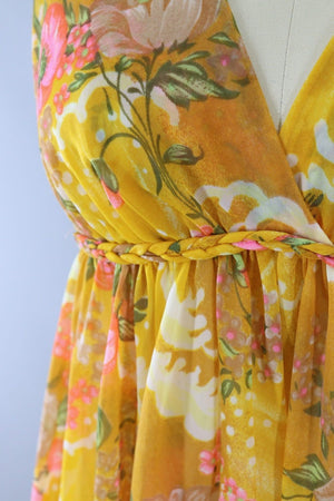 Vintage 1960s Golden Yellow Grecian Style Nightgown-ThisBlueBird - Modern Vintage