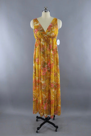 Vintage 1960s Golden Yellow Grecian Style Nightgown - ThisBlueBird
