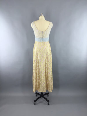e9ff08980335 Vintage 1960s Grecian Goddess Gold Maxi Dress by Rose Taft for Helen Siki