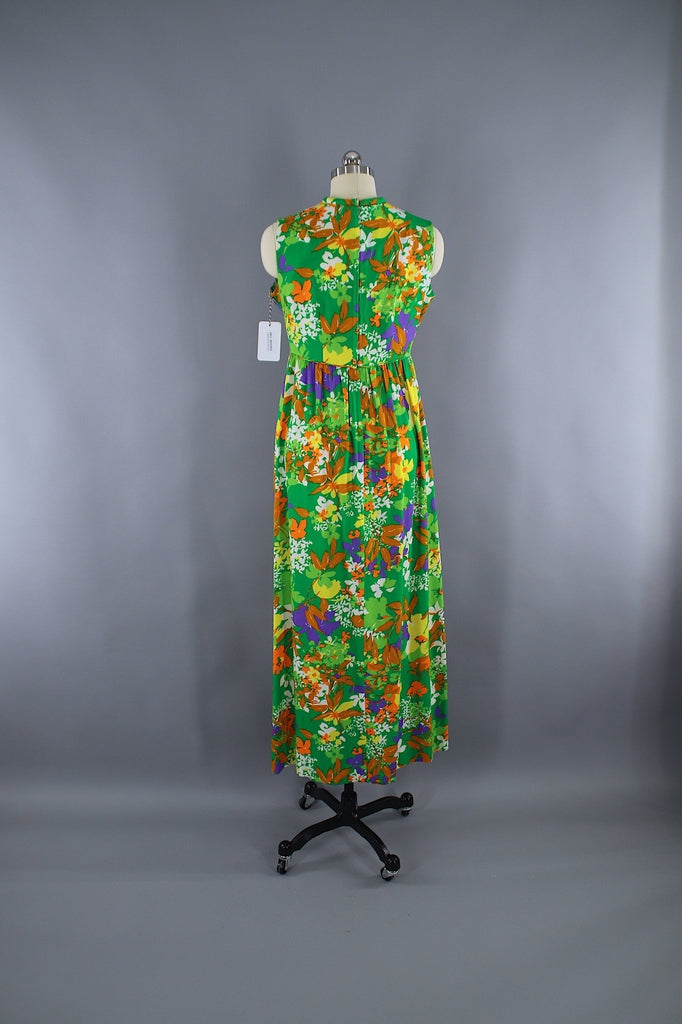 Vintage 1960s green floral maxi dress liberty house for Modern house dress