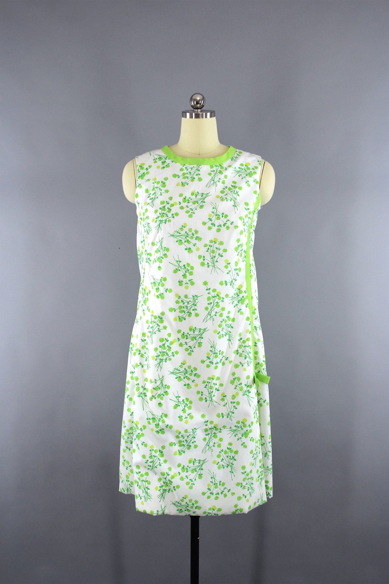 3434b4440a758d Vintage 1960s Green Floral Print Lilly Pulitzer Dress