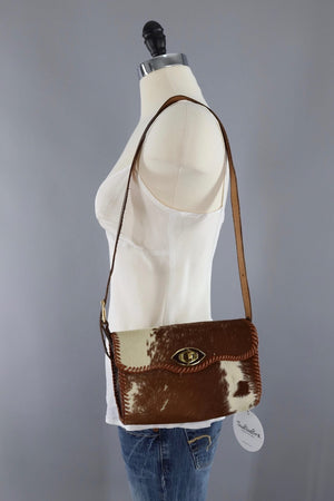 Vintage 1960s Hide Leather Crossbody Bag-ThisBlueBird - Modern Vintage