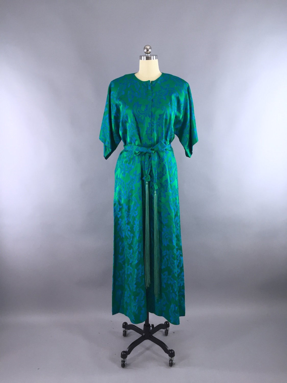 Vintage 1960s Hostess Dress / Emerald Green with Fringe Sash / Saks Fifth Ave Dress ThisBlueBird