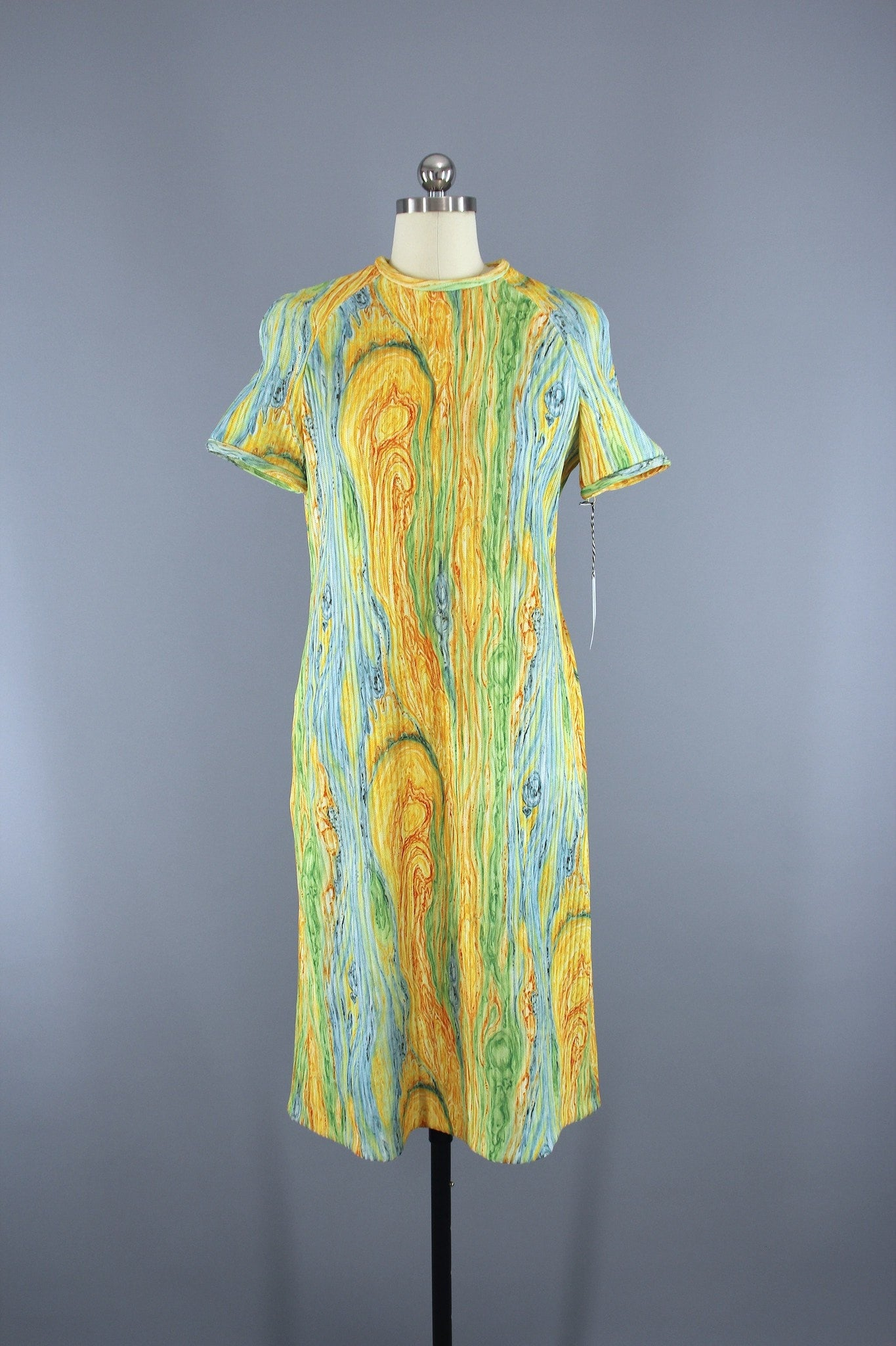 Vintage 1960s Knit Sweater Dress in Yellow Aqua Psychedelic Swirl / Leslie Fay Dress ThisBlueBird