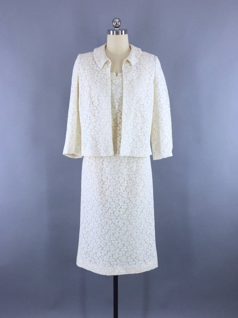 Vintage 1960s Lace Dress and Jacket Set Dress ThisBlueBird