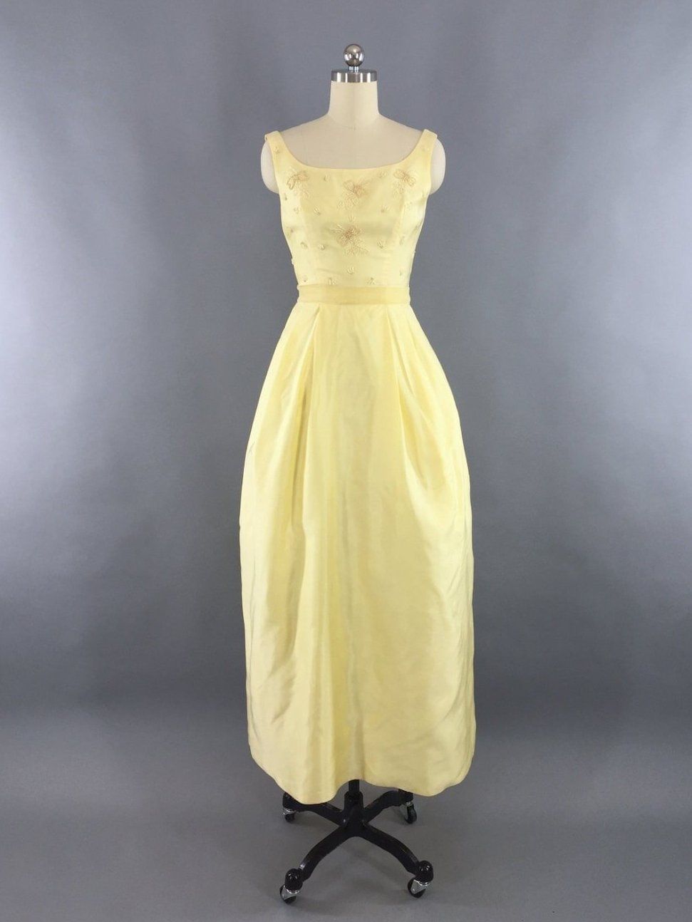 Vintage 1960s Lemon Yellow Beaded Gown Maxi Dress Dress ThisBlueBird