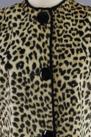 Vintage 1960s Leopard Print Faux Fur Cropped Jacket-ThisBlueBird - Modern Vintage