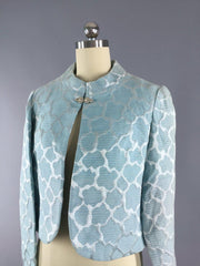 Vintage 1960s Pastel Blue Brocade Cropped Jacket Outerwear ThisBlueBird
