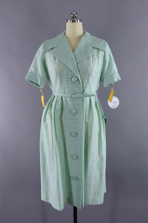 Vintage 1960s Pastel Green Day Dress - ThisBlueBird