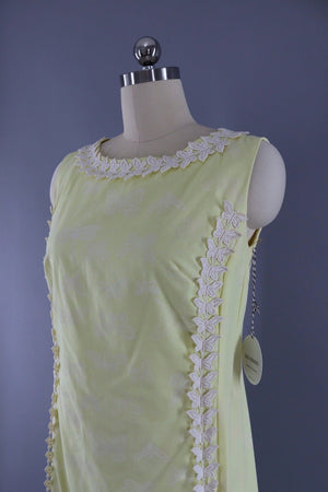 Vintage 1960s Pastel Yellow Butterfly Shift Dress-ThisBlueBird - Modern Vintage