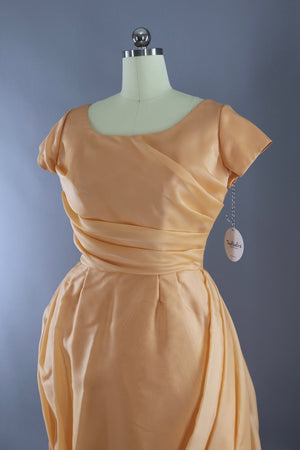 Vintage 1960s Peach Chiffon Cocktail Dress-ThisBlueBird - Modern Vintage