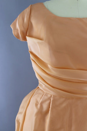 Vintage 1960s Peach Chiffon Cocktail Dress - ThisBlueBird