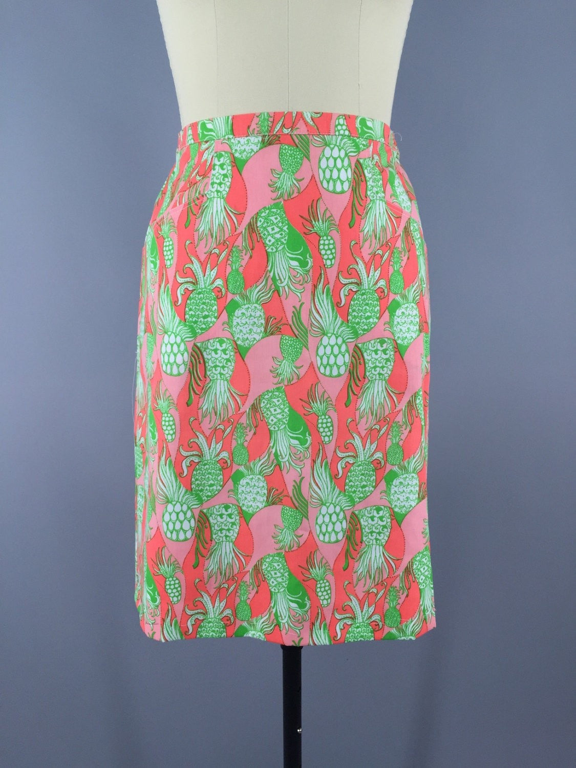 Vintage 1960s Pineapple Novelty Print Skirt Bottoms ThisBlueBird - Sale