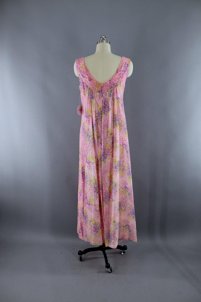 27747b05df4 Vintage 1960s Pink Floral Print Maxi Dress-ThisBlueBird - Modern Vintage
