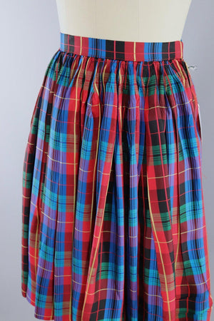 Vintage 1960s Red & Blue Tartan Plaid Skirt