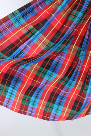 Vintage 1960s Red & Blue Tartan Plaid Skirt - ThisBlueBird