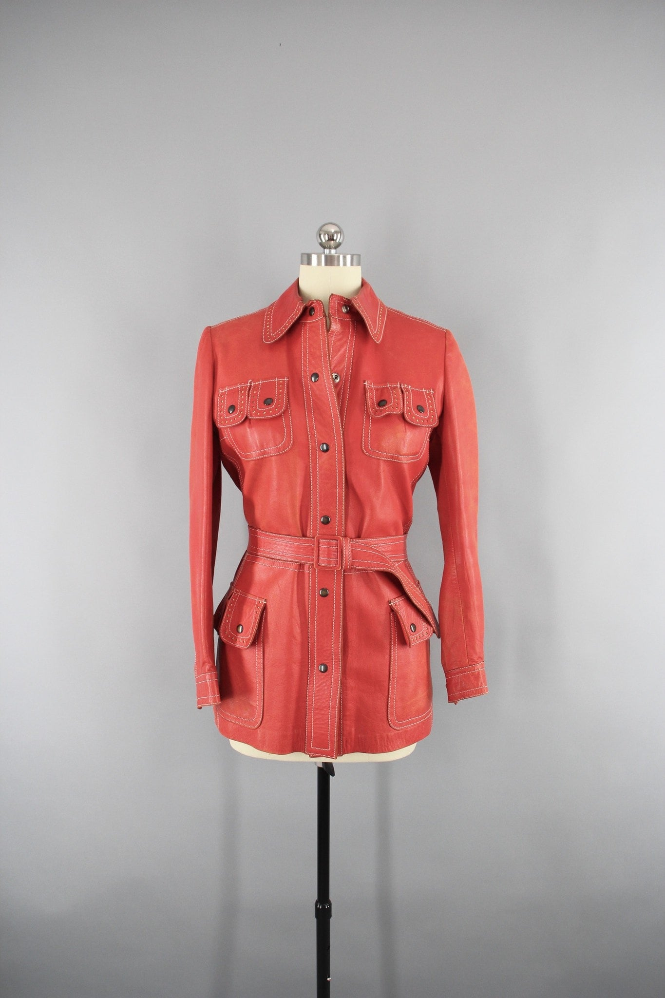 Vintage 1960s Red Orange Leather Jacket Outerwear ThisBlueBird