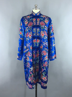 Vintage 1960s Royal Blue Embroidered Satin Coat - ThisBlueBird