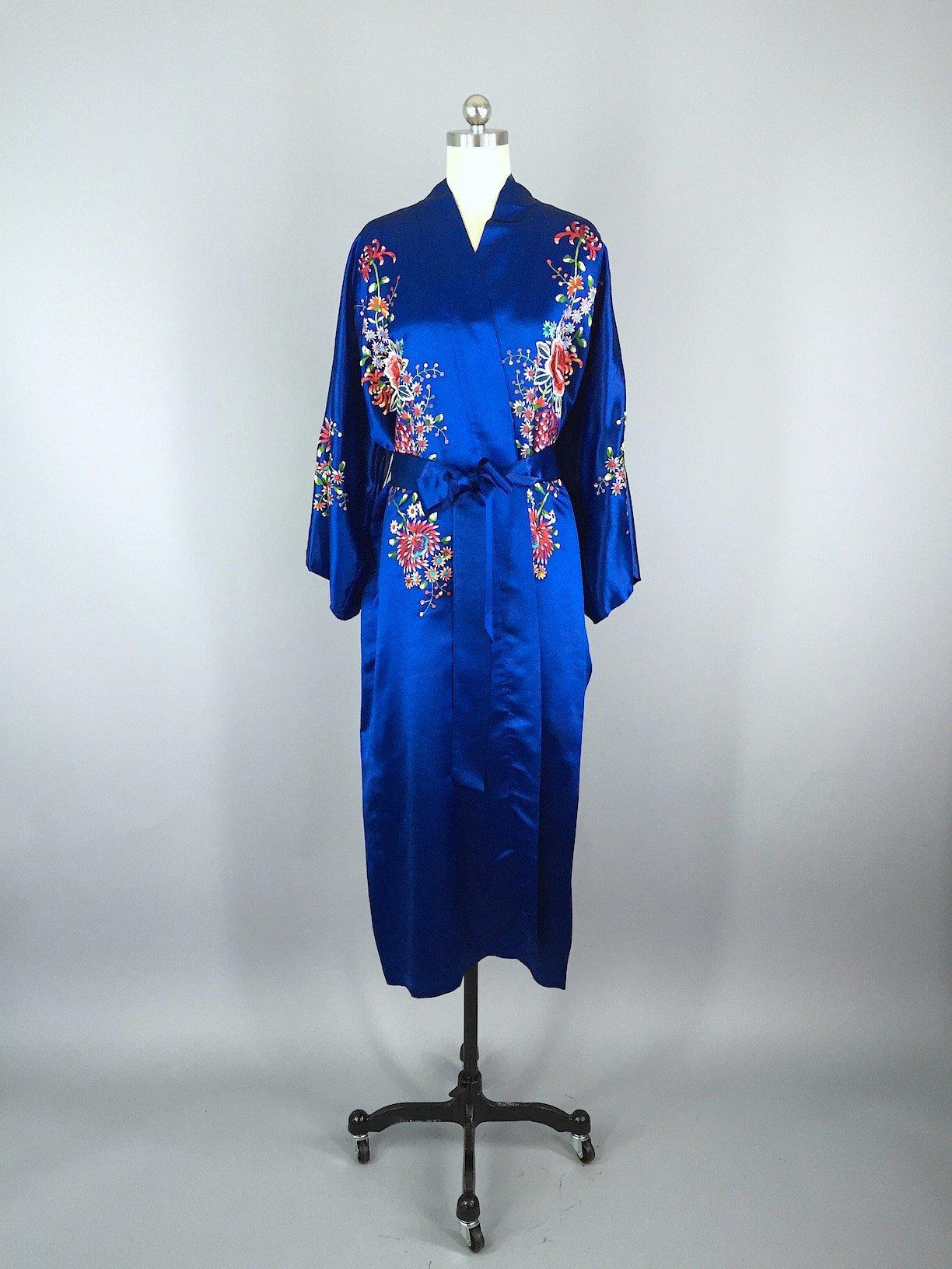 Vintage 1960s Royal Blue Silk Robe with Floral Embroidery Kimono  ThisBlueBird a4fcb7a62