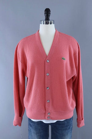 Vintage 1960s Salmon Pink Izod Lacost Cardigan Sweater - ThisBlueBird
