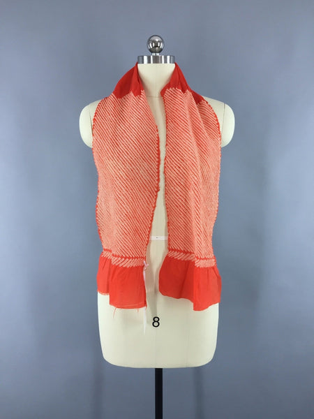 Vintage 1960s Silk Chiffon Kimono Obiage Scarf in Dark Orange-Red and White Shibori